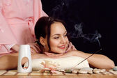 The spa at the salon procedures beautiful charming girl — Stock Photo