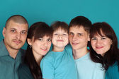 Caucasian beautiful happy family consisting of five toget — Stock Photo