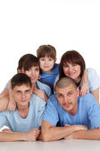 Caucasian beautiful household consisting of five persons are tog — Stock Photo