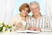 Beautiful Caucasian aged couple sitting — Stock Photo