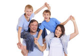 Happy parents and sons — Stock Photo