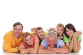 Happy family lying — Stock Photo