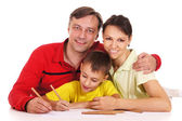 Parents and kid drawing — Stock Photo