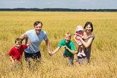 Nice family at field — Stock Photo