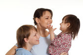 Happy Caucasian family is embraced — Stock Photo