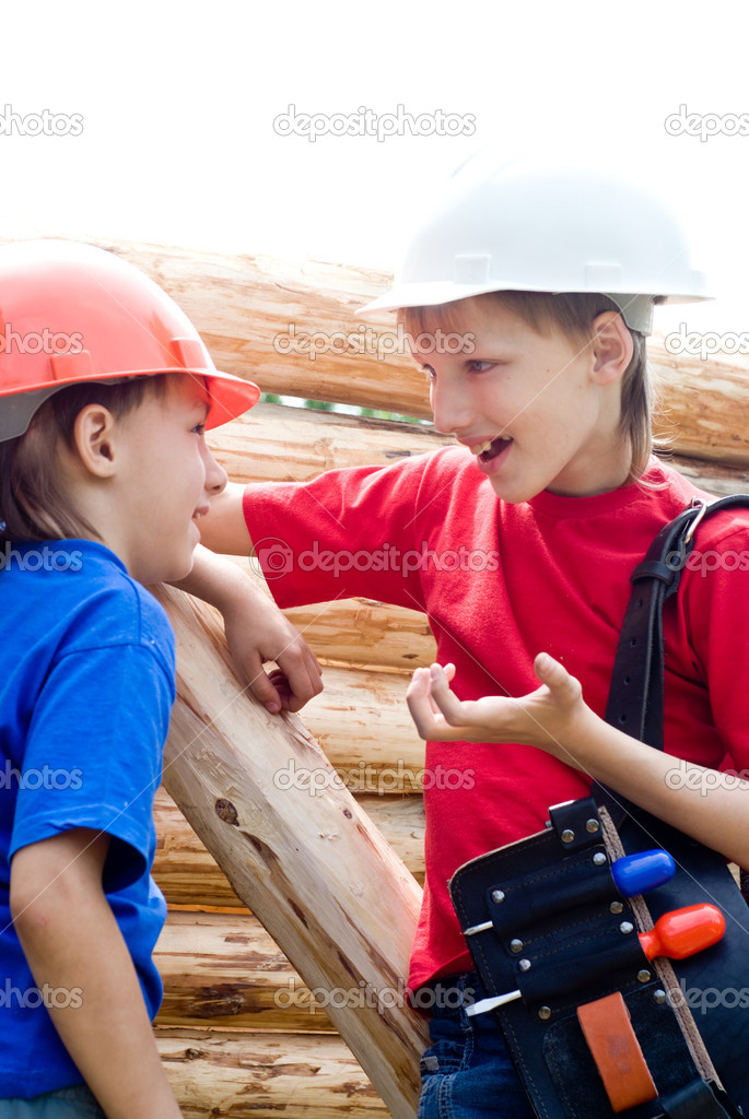 Two little workers building at the nature — Stock Photo #10934210