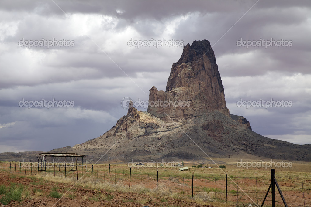 Storm clouds appear over agatha peak near kayenta arizona   Stock Photo #11578165