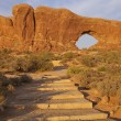 Path to the North Window, Arches N.P. - Stock Photo