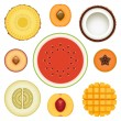 Stock Vector: Fruit Half Set