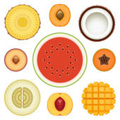 Fruit Half Set — Stock Vector