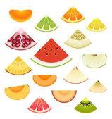 Fruit Wedge Set — Stock Vector