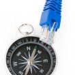Computer cable and Compass - Stock Photo