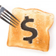 Bread slice with dollar sign - Stock Photo