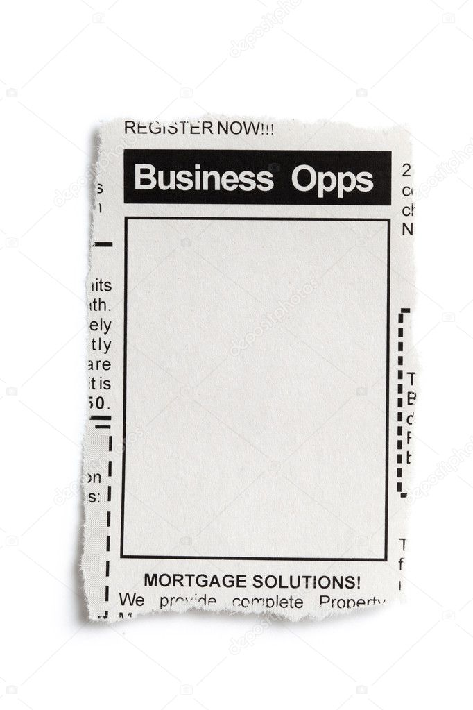 Fake Classified Ad, newspaper, business opportunity concept. — Stock Photo #11535066