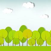 Ağaçlar ve çalılar. dikişsiz vektör desen — Stok Vektör