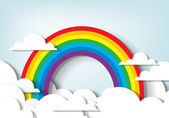 Rainbow and clouds — Stock Vector