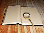 Libro abierto y una lupa — Foto de Stock