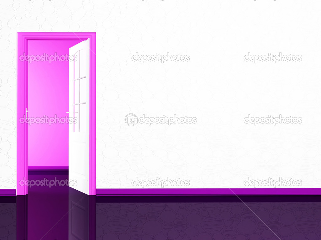 Open door in the empy room, rendering  Stock Photo #11014552