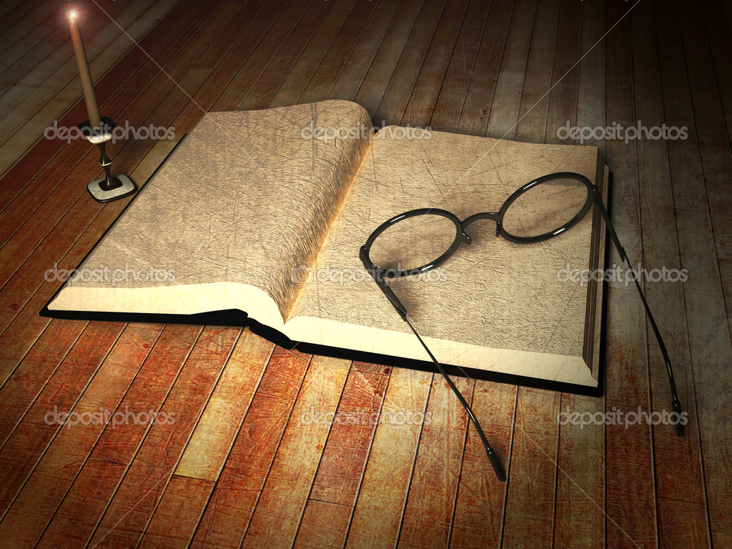 Book, glasses and a candle on the table  Stock Photo #11014714