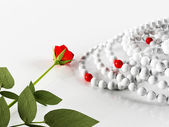 Composition with a rose and the necklaces — Stock Photo