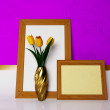 Yellow tulips and the pictures — Stock Photo