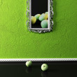 Creative painting and apples in the room — Foto de Stock