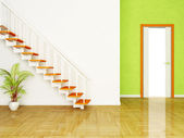 A plant and the stairs, the door — Stock Photo