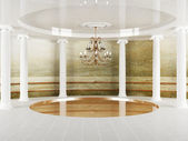 Columns and a chandelier in empty room — Stock Photo