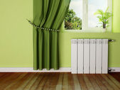 Interior design scene with a radiator — Stock Photo