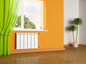 A radiator and a window — Stock Photo