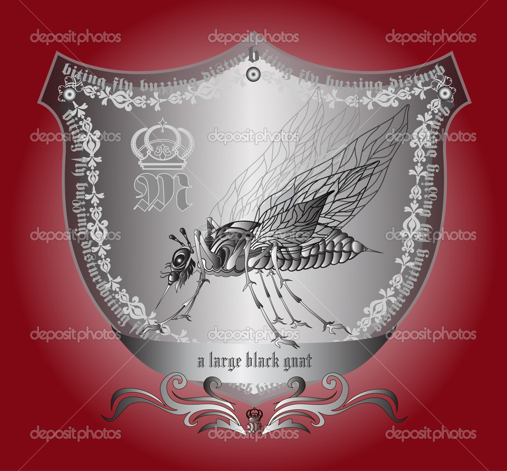 Coat of arms featuring a royal black mosquito with a slogan — Stock Vector #11911135