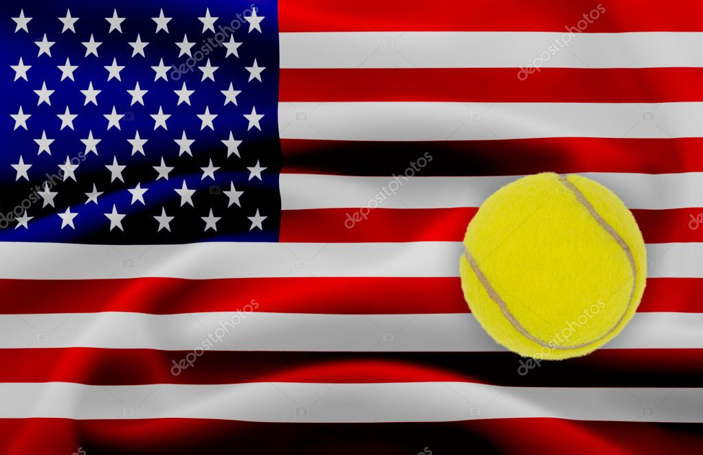 US Open tennis concept with flag and ball — Stock Photo #11015289