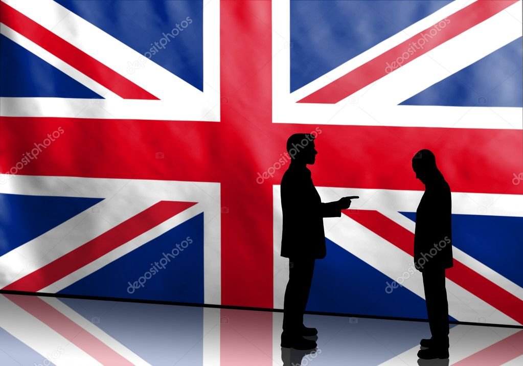 Silhouette of british politicians blaming other with flag in background  Stock Photo #11037278