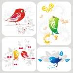 Vector set with decorative bird — Stock Vector