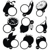 Vector conjunto de pegatinas frutas etiquetas - negro — Vector de stock
