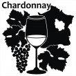Wine glass for white French wine - Chardonnay — Stockvector #11164787