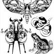 Vector set with decorative silhouettes of fantastic animals — Stock Vector #11164838