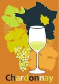 Glass for white French wine - Chardonnay — Stock Vector