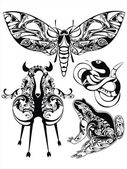 Vector set with decorative silhouettes of fantastic animals — Stock Vector