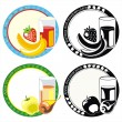 Labels with juice in glass and fruits — Stock Vector