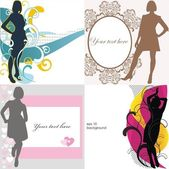 Illustrations with young women silhouette — Stock Vector