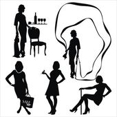 Vector set with young women silhouette — Stock Vector