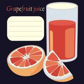 Grapefruit and juice in glass — Vecteur