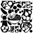 Set with food stickers - vector silhouettes — Stock Vector