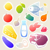 Vector sticker set with food and drinks. — Stock Vector