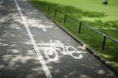 Sign on bike lane — Stock Photo