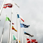European flags with Greek flag in the centre — Stock Photo