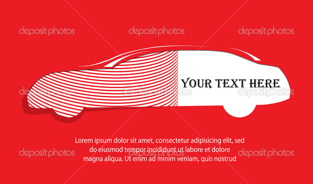 Car silhouette banner on red background for your text — Stock Vector #10975831
