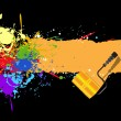 Color rainbow paint splashes for background vector with roller - Stock Vector