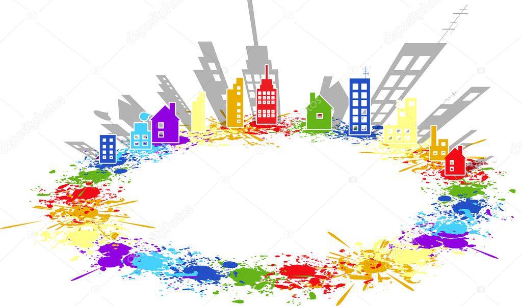 Salpicaduras de color de pintura ciudad de vectores de fondo inmobiliario vector de stock - Salpicaduras de pintura ...